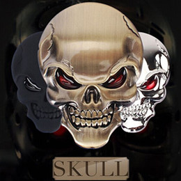Wholesale 1 High Quality Skull Devil D Motorcycle Car Emblem Badge Logo Decal Stickers Car Styling Sticker Accessories