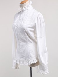 Wholesale Simple White Stand Collar Long Sleeves Cotton Cosplay Costumes