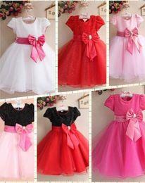Girls Dresses Suit Pink Dress Child Clothing Kids Party Clothes Sequins Big Girls 7Y Lace Tutu 2017 Hot Sale Flower Girl