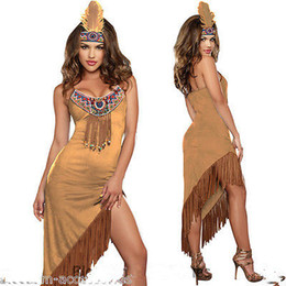 Wholesale Women Ladies Pocahontas Native American Indian Wild West Fancy Dress Party Costume Sexy Pow Wow Tassels Feather G string Q1202