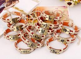 Horoscope Twelve Constellations Genuine Leather Bracelets Women Bracelet 12 zodiac signs Men Bracelet Wristband Cuff Bangle Jewelry