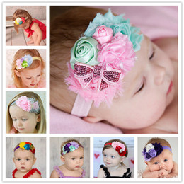 8Clrs New Fashion Hot children kids Baby Rose Buds Sequined Bow Elastic Baby Head, Hair Accessories HD004