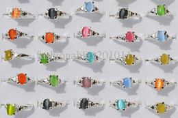 Wholesale Colourful Natural Cat Eye Gemstone Stone Silver Plated Rings New Jewelry R10 Z