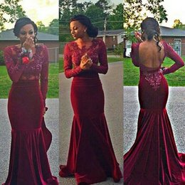 Burgundy Red Long Sleeve Evening Gowns With Jewel Neck Appliques Lace Mermaid Backless Women Formal Prom Party Dresses Evening Wear