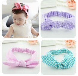 Wholesale baby girls bow knot dot stripe head band export lovely kids cotton rabbit elastic hair ribbons