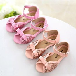 cute bowknot children sandals girls dandals sweet paillette princess flat shoes fashion children shoes girls shoes