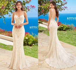 2017 Lace Wedding Dresses Beading Crystal Sexy Backless Spaghetti Straps Floor Length Mermaid Wedding Bridal Gowns