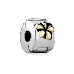 Rhodium Plating Copper Material Bracelet Locket European Gold Flower Clip Stopper Charm Bead Fit Pandora Bracelet