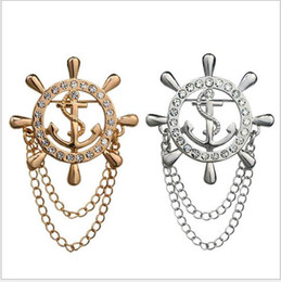 Wholesale New Journal Of Naval Air Rudder Anchor Chain High end Men s Brooch Crystal Rhinestone Brooch Gold Badge Lapel Pin Fine Jewelry