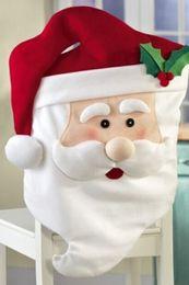 Wholesale 2015 Creative Santa Cute Chair Back Set Covers Dinner Decor Christmas Room Decoration pieces