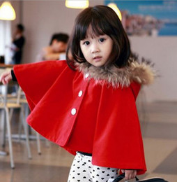 Wholesale Red Navy Kids Poncho Outwear Winter Fur Collar Baby Girl Batwing Top Cloak Outfit With Hat Kids Outwear for Christmas