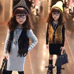 Wholesale Girls Sleeveless Tops waistcoat Cardigan Children Clothing Child Tank Top Kids Clothes Kid Fringe Vest Jackets coat coats autumn