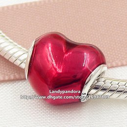 2016 New 925 Sterling Silver In My Heart Charm Bead with Red Enamel Fits European Pandora Jewelry Bracelets Necklaces & Pendant
