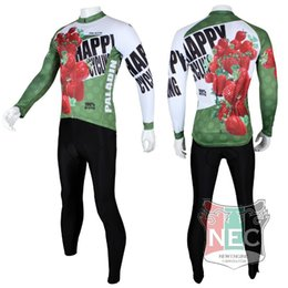 Wholesale-Jucy Strawberry green Men's Long Sleeve Cycling Kit Jersey + Pants Quick Dry Plus Size maillot quality ciclo jersey Bike