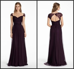 Bridesmaids Dresses Plum English Net A Line Long Sweetheart Neckline Formal Party Dress Lace Cap Sleeve Keyhole Zipper Evening Dress