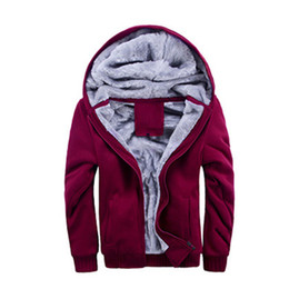 Fall-Mens Winter Thicken Warmth Sweatshirts Jackets Thick Velvet Hooded Zip Coats SZA