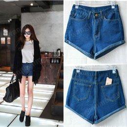 Wholesale Hot Retro Womens Girls Blue High Waist Flange Hole Wash Jeans Denim Shorts