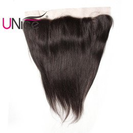 UNice Hair Straight Brazilian Lace Frontal 13x4 Ear to Ear Free Part Lace Closure Unprocessed 1 Piece Human Hair 10-20inch Natural Color