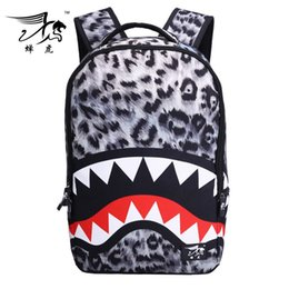 Wholesale 2016 Men And Women Cool Shark Tooth Fish Bloody Designer Outdoor Shoulder Backpack Sports Bags School Bags On Sale