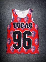 Wholesale Long Tank Top Xxl Women - New Harajuku Fashion men women Tupac Shakur 2Pac singlet tank top Casual 3d character sleeveless hip hop mens plus size S-xl xxl