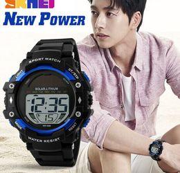 Solar Power Lithium Men Multifunction Chrono Wrist Watch PU Strap Alarm 5 ATM Sport Watches 1129