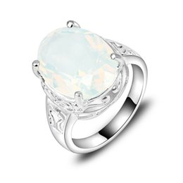Wholesale 5pcs Bulk Price Christmas Gift Sterling Silver Oval Moonstone Gems Ring R0139