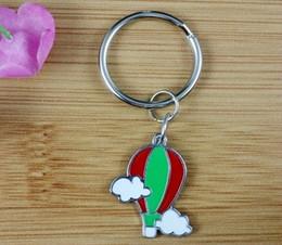 50PCS Fashion Vintage Silvers Charms Red Enamel Hot Air Balloon Keychain Ring For Keys Car DIY Bag Key Chain Handbag Gift Accessories N1601