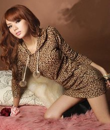 East Knitting BF-062 Women's Hoodies Womans Coats Long Sleeve DRESS LEOPARD tops Free shipping