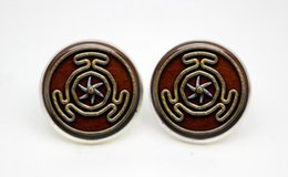 Wholesale 10pairs Wheel of Hecate Symbol earrings Posts Glass photo earrings stud post vision