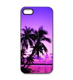 Wholesale Purple Sunset Banana Tree Style Hard Plastic Mobile Phone Case Cover For iPhone S S C plus
