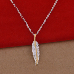 Wholesale 925 sterling silver necklace Korean version of the popular small separations feather necklace jewelry trade large spot
