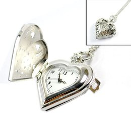 Wholesale Woman s Pocket Watch Heart Shape Pendant Watch Carving Hollowed Clamshell Necklace Sweater Chain sw219