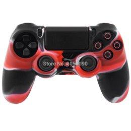 Acheter en ligne Contrôleur ps4 couvercle du boîtier-Red Black Camo Silicone Gel Housse en caoutchouc pour poignée pour Sony PlayStation 4 PS4 Controller Housse en silicone, livraison gratuite