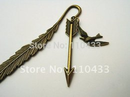 Wholesale-Hunger Games Bookmark, steampunk feather handle and Katniss's arrow pendant BM001