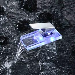 Wholesale LED Faucet Lights LED Faucet Sensor automatic Color Change Faucet WaterFall Kitchen Bathroom Chrome Mixer Brass Tap