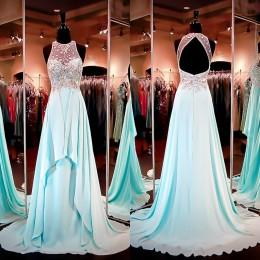 Prom Dresses 2016 Dresses Party Evening Gowns Backless Senior Beaded Formal Dresses Light Sky Blue Long Bridesmaid Dresses with Crystals