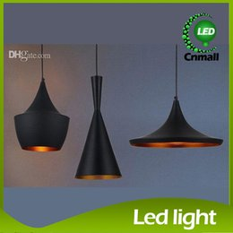 Wholesale Indoor Light Tom Dixon Copper Design Shade Pendant Lamp E27 Bulbs Beat Light Ceiling Lamp Black White Home Decoration ABC Size Set
