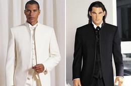 Black White No Button Formal Men Suits Groom Groomsmen Tuxedos Wedding Bridegroom Fall Winter Suits Custom Made (Jacket+Pants+Vest+Tie)