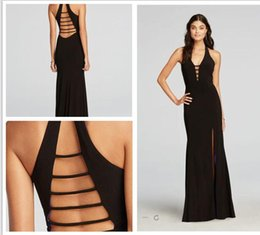 Wholesale Sexy Cut Out Skirts - 2016 Black Sexy Plunging Necklines Halter Cut Out Prom Dress with Side Slit Split Skirt Evening Prom Dresses