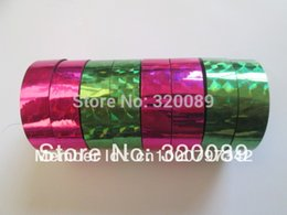 2016 Wholesale-8 Rolls Prism Hoop Hula Laser Tape 12mmx12m pc Holographic Sticky Stationery For Gift packing Green&Rose