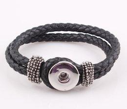 Wholesale Braided Genuine Real Leather Copper Snap Clasp Bracelet Fit Snaps Snap Button cm