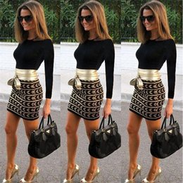 Wholesale Hot Sale Women Dress Sexy Club Dress Casual Long Sleeve Office Dress Black Mini Bodycon Printed Dresses