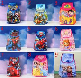 9 Design children Cartoon backpack 2015 new Boy girl bag The Avengers Frozen Spider-Man doctor princess Big Hero 6 Schoolbag B