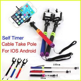 Wholesale Wired mm in1 Audio handheld Selfie stick Tripod self timer shutter cable take pole monopod for iphone5 controler no need bluetooth