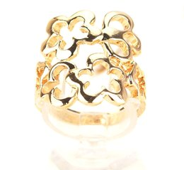 Free Shipping Fashion Women Men 18k Yellow Gold Filled Size 8.5 Hollow out design Ring Jewelry
