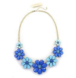 Vintage Women's Stylish Blue Orange Crystal Gem Necklace Statement Necklace Fashion Necklaces for Women 2014 CX191