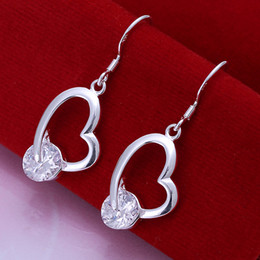 Fashion 925 Sterling Silver EARRINGS Heart with Clear Crystal Earrings