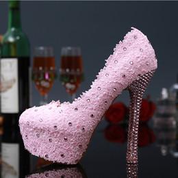 2017 taille 34 talon rose Doux rose et rouge en dentelle fleurs chaussures de mariée Robe de mariage strass Talons Mesdames chaussures d'été Pluse taille 34 - 43 budget taille 34 talon rose
