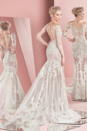 Wholesale Sleeved Lace Backless Wedding Dress - Spring Summer Zuhair Murad Wedding Dresses 2016 New Illusion Bodice Sheer Skirts Long Sleeved Wedding Dress Latest Mermaid Wedding Gowns