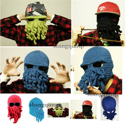 Wholesale hot sale best price Novelty Handmade Knitting Wool Funny Beard Winter Octopus Hats caps Christmas Party Crocheted beanies unisex Gift